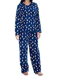 Womens 2 Piece Pajama Sets Micro Fleece V-Neck/Button Down Top Drawstring Bottom