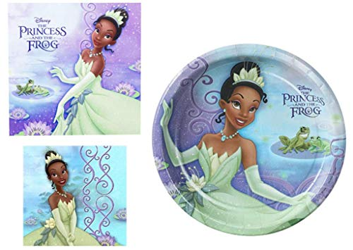 The Princess and the Frog 3 Piece Party Accessories Bundle Includes : 8 Large Paper Plates, 16 Lunch Napkins and 16 Beverage Napkins