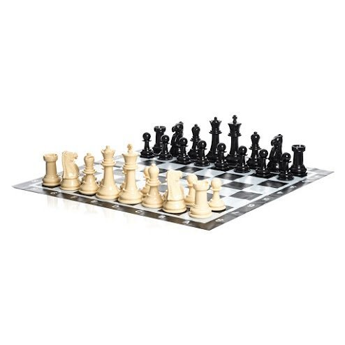 Uber Games Large Chess Pieces and Chess Mat - Black and White - Plastic - 8 inch King by Uber Games