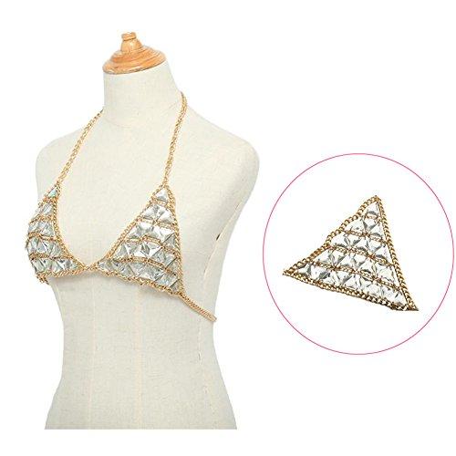 MineSign Fashion Sexy Chain Necklace Bra Summer Body Jewelry Accessories for Bikini Beach Party Rhinestone Gold by MineSign (Image #2)