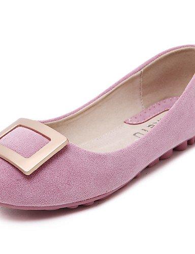PDX/ Damenschuhe - Ballerinas - Kleid / Lässig - Wildleder - Flacher Absatz - Komfort / Rundeschuh / Geschlossene Zehe - Schwarz / Rosa / Lila pink-us8 / eu39 / uk6 / cn39