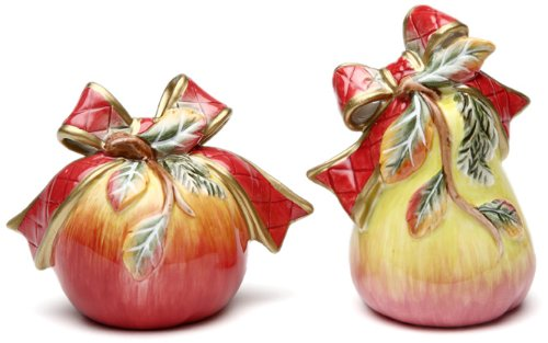 - Cosmos Victorian Harvest Pear and Apple Salt and Pepper Set, Pear is 3.6-Inch Tall, Apple is 2-3/4-Inch Tall