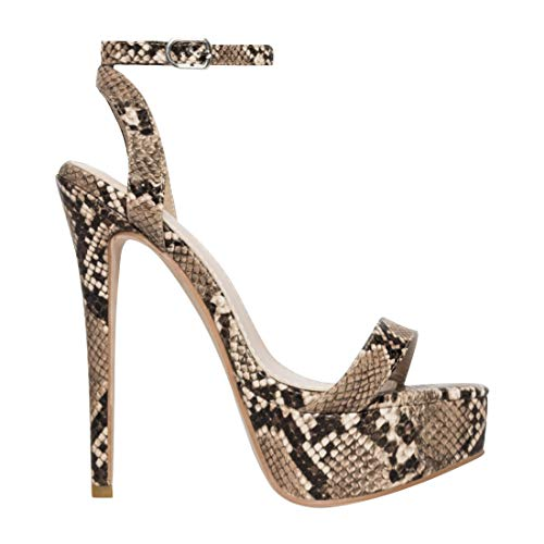 EUYZOU Women's Fashion High Stiletto Platform Sandals - Open Toe Ankle Strap Dress Heels 5.75
