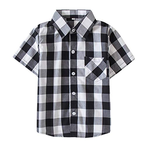 Mini honey Kids Little Boys Girls Baby Long Sleeve Button Down Red Plaid Flannel Shirt Plaid Girl Boy NB-6T (2-3 T, Black White) ()