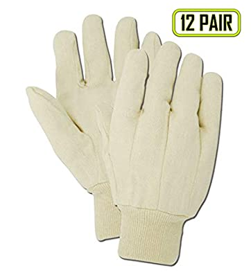 Magid Glove & Safety T86-AMZN MultiMaster T86 Clute Pattern Canvas Gloves, 8 oz, Cotton Poly Blend, Men's (Fits Large), Natural (Pack of 12)