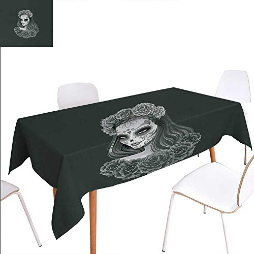 (Warm Family Day of The Dead Customized Tablecloth Gothic Young Girl in Calavera Make Up Hairstyle with Roses Stain Resistant Wrinkle Tablecloth 70