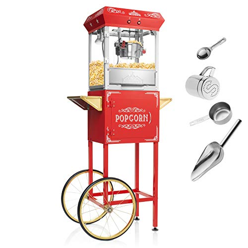 Olde Midway Vintage Style Popcorn Machine Maker Popper with Cart and 6-Ounce Kettle – Red