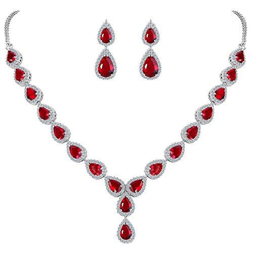(BriLove Wedding Bridal CZ Necklace Earrings Jewelry Set for Women Teardrop Infinity Figure 8 Y-Necklace Dangle Earrings Set Ruby Color Silver-Tone July Birthstone)