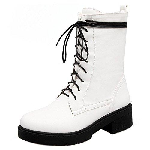 RAZAMAZA Women Winter Lace Up Boots Warm Lined White hjzBGy
