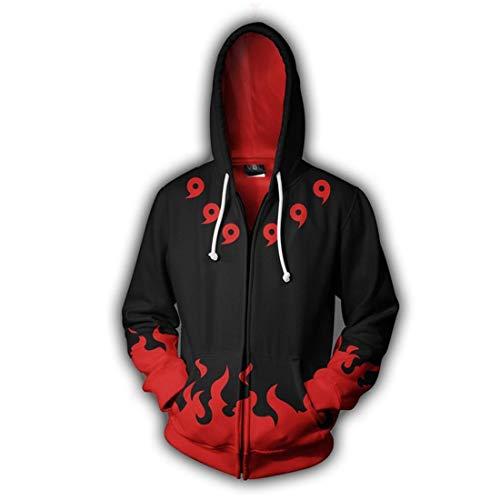 shaobeiq Anime Naruto Unisex 3D Printed Hooded Sweatshirt Cosplay Costum Zip Up Jacket -