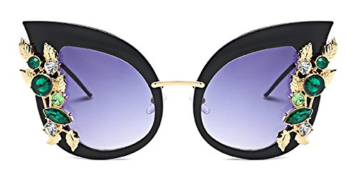 Slocyclub Womens Overstated Cat Eye Jeweled Sunglasses Stylish Design with - Sunglasses Eye Cat Sale