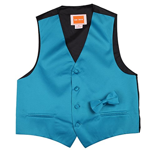 Children Solid Waistcoat Microfiber for Xmas Day Kids Vest with Matching Bow Tie,Dark Turquoise,Size 16A