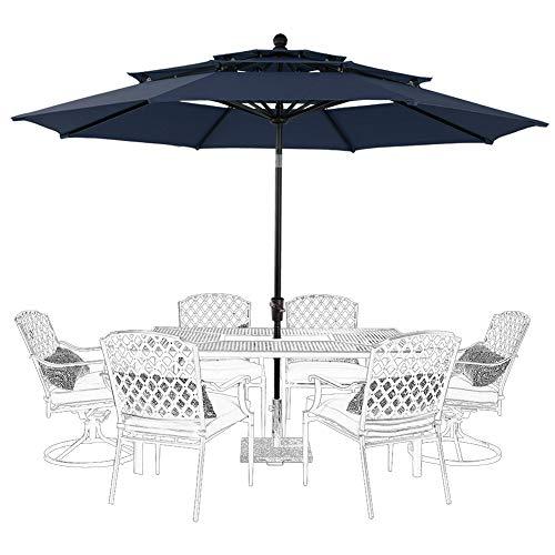 PHI VILLA 10ft Patio Umbrella Outdoor 3 Tier Vented Table Umbrella with 8 Sturdy Ribs (Dark Blue) (Sunbrella Commercial Furniture Patio)