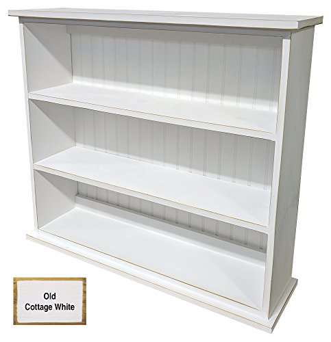 Pine Bookcase with 3 Shelves (Old - Cottage White) (Cottage Furniture Main)