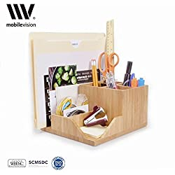 MobileVision Bamboo Multi-Function Desktop Organizer; Store stationary items like notepads, file folders, paperclips, business cards, pens, & more