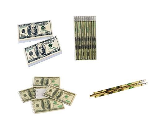 J&J's ToyScape $100 Bill Bulk Erasers, Mini Notebooks & Pencils (Pack of 108; 36 Pcs Each)   Dollar Money Stationary Ideal for Birthday Party Favors, Goody Bag Fillers