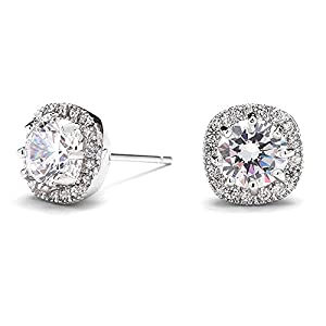 Mariell Cubic Zirconia Cushion Shape 10mm Halo Stud Earrings with Round Cut Solitaire