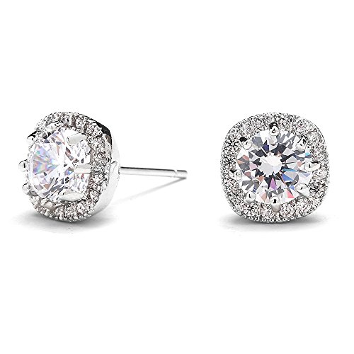 Mariell Cubic Zirconia Stud Earrings with 10mm Cushion Shaped Halos - Round-Cut CZ Solitaire Pave Studs (10mm Solitaire)