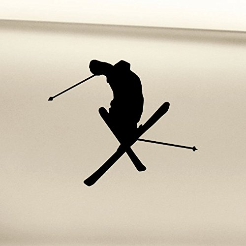 Skiing Skier Ski Vinyl Decal Laptop Car Truck Bumper Window Sticker - Black