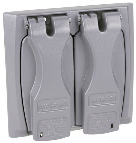 Red Dot 2CCU Outlet Box Flip-Lid Cover, Weatherproof, 2 Gang, Silver