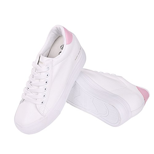 Buganda Womens Casual Leather Sneakers Fashion Lace up White Shoes Hidden Heel Platform Sneaker Shoes Pink