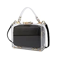 Lam Gallery Designer Transparent Acrylic Bags Clear Purse Luxury Grace Leather Bags Plastic Hard Case Clear Handbags for Womens See Through Shoulder Bag Black