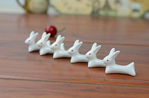 VANCORE 8 Pcs Set Cute Rabbit Ceramic Chopsticks Rest Rack by VANCORE (Image #5)