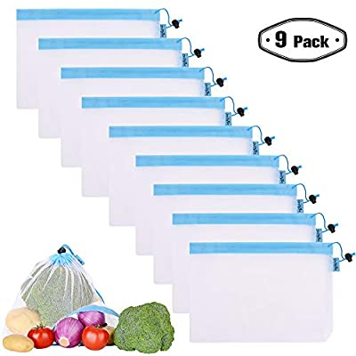 Reusable Mesh/Produce Bags (Lightweight, See-Through by PrettyCare) Double-Stitched Strength Grocery Bags with Tare Weight on Tags for Shopping & Storage of Fruit, Veggies