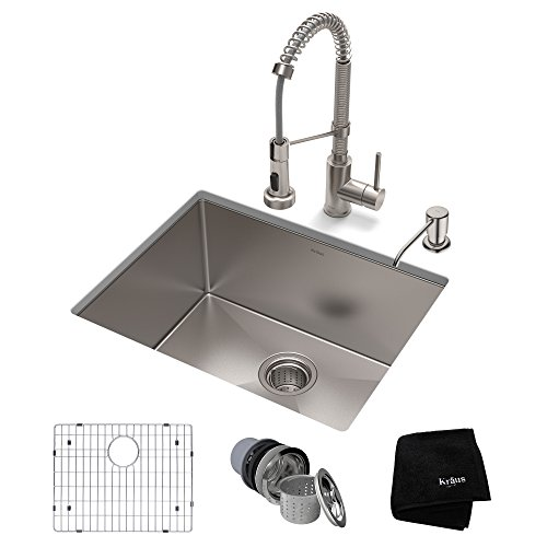 (KRAUS KHU101-23-1610-53SS Set with Standart PRO Bolden Commercial Pull Stainless Steel Kitchen Sink & Faucet)