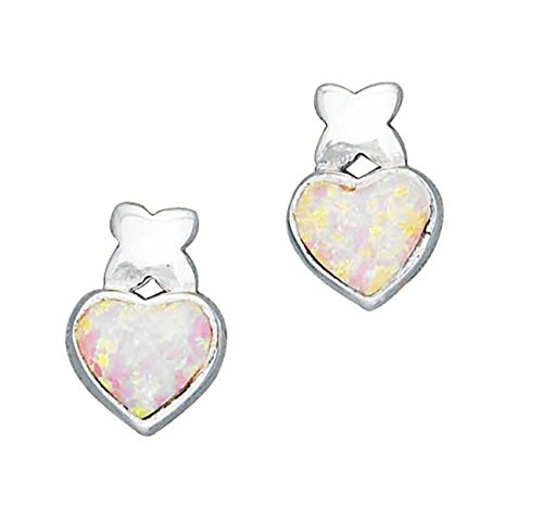 Sterling Silver Simulated Pink Opal Heart Kiss Post Stud (Post Heart Shaped Opal Earrings)