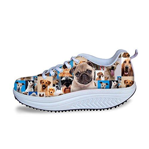 Damesschoenen Wandelende Sneakers Zachte Toevallige Schommel Schoenen Honden Fitness Sleehak Schoenen Veters Damespatroon 5