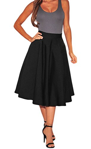 PEGGYNCO Womens Black Flared A-Line Midi Skirt Size M (Christmas Jumpers Uk H&m)