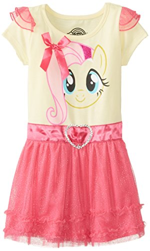 My Pony Little Girls' Toddler My Pony White Dress, Yellow/Pink, 2T