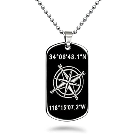 Kriskate & Co. Personalized Coordinates Stainless Steel Dog Tag Necklace with 24 Inches Stainless Steel Chain (With Back Engraving)