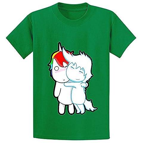 Chas Unicorn And Pegasus Youth Crew Neck Customized Tee Green (Samsung Tab 4 Case Mario)