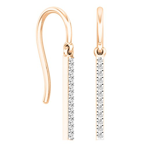0.15 Carat (ctw) Round White Diamond Ladies Fashion Dangling Earrings, 14K Rose Gold ()