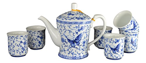 7 Pcs Premium Ivy Butterfly Blue and White Tea Set Fine Tall Tea Pot Tea Cups ()