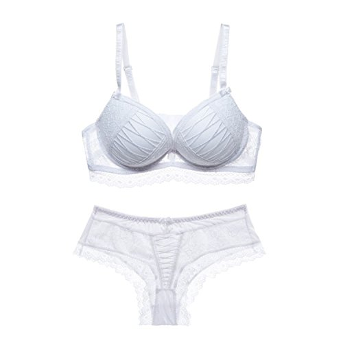 Dormery Sexy ABC Push up Women Bra Set Lace Hollow Out Underwear and Panty Set Young Lady Fashion Temptation Bra Brief Sets White 80A ()