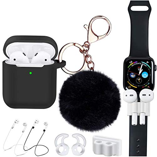 Airpods Case Compatible Apple Airpod 2&1 Charging 7 in 1 Airpods Accessories Kit Protective Silicone Cover with Air Pod Ear Hook/Tips/Airpod Strap/Watch Band Holder/Fur Ball [Front LED Visible]-Black (Set It Off Band Phone Case)