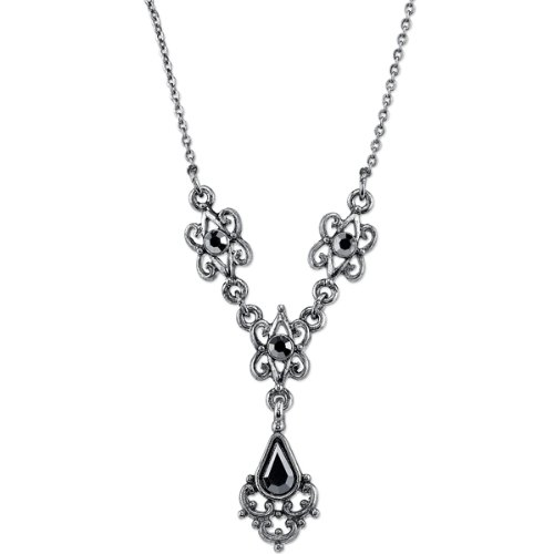 Downton Abbey Antiqued Silver-Tone Hematite Color Crystal ()
