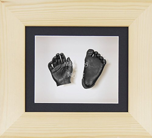 BabyRice 3D Baby Boy Casting Kit Natural Pine Wood Frame Pewter Foot Casts