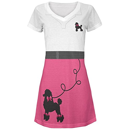 50's Poodle Skirt Pink Costume All Over Juniors Cover-up Beach Dress (Poodle Skirt Sweater)