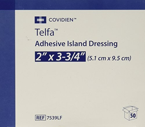 Sterile Gauze Pads Island Dressing (7539LF Telfa Island Wound Dressing, Latex Free, Sterile Gauze 2 x 3-3/4 Inch, Adherent 50 Per Box. 7539LF by)