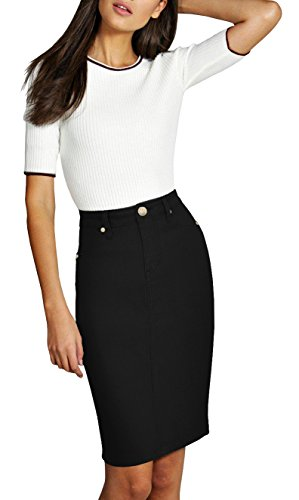 - Lexi Womens Pull on Stretch Denim Skirt SKS19410 Black 18