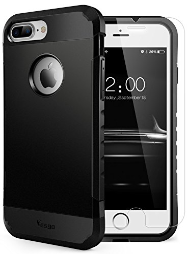 Yesgo iPhone 7 Plus Case Shockproof, Slim Anti-Scratch Protective Kit with [Tempered Glass Screen Protector] Heavy Duty Dual layer Rugged Case Non-slip Grip Protection for iPhone 7 Plus-Matte Black