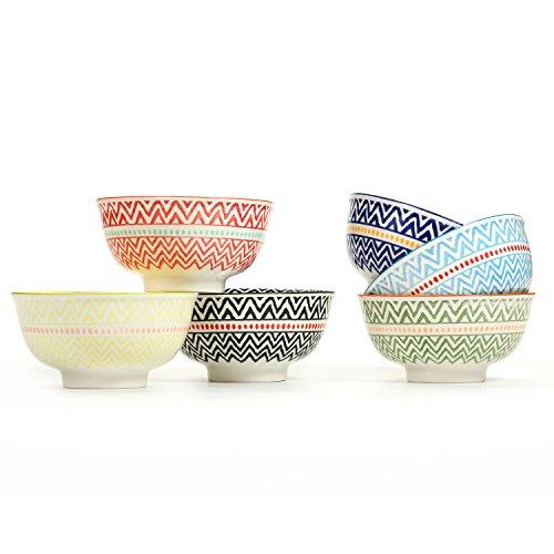 Porcelain Large Serving Bowls for Cereal, Pasta,Soup, Fruit, Ramen, Set of 6 Assorted Colors,FDA Approved (5.6