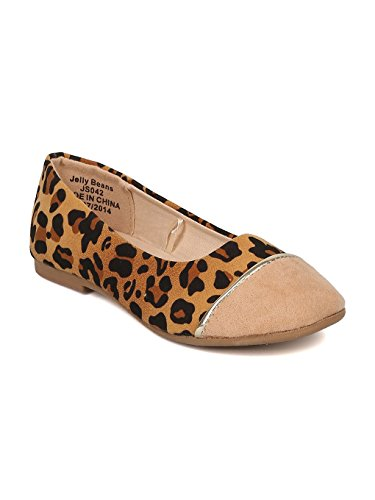 Alrisco Girls Faux Suede Leopard Capped Toe Ballet Flat HA85 - Camel Mix Media (Size: Toddler 10) -