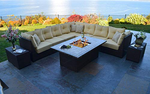 Fire Pit Set. Large, Outdoor, Chat Furniture Kit Of Aluminum, Resin Wicker, Marble For Porch, Lawn, Pool, Garden, Patio, 10 Person. Outside, Rectangle Fire & Side Tables, Sectional Sofa, Cushions ()