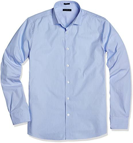 Crafted Collar Men's Slim Fit Spread Collar Stripe Business Casual Shirt