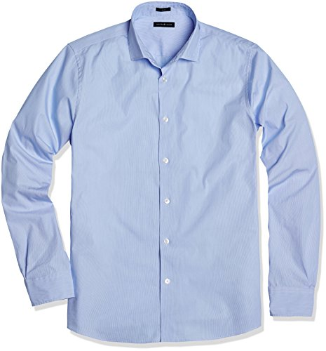Crafted Collar Men's Slim-Fit Dress Shirt 18' Neck 34' Sleeve Light Blue Stripe